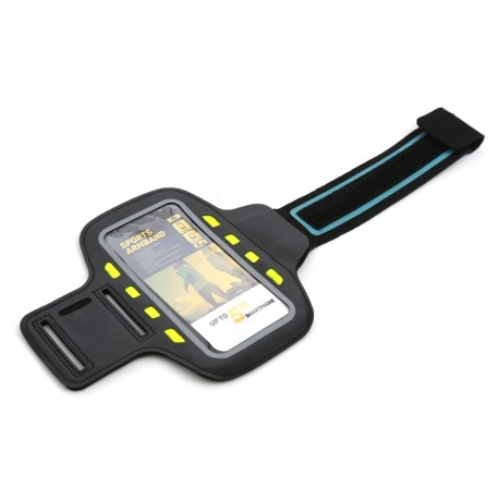 PLATINET SPORT ARMBAND FOR SMARTPHONE BLACK WITH LED 43705