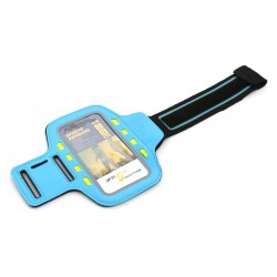PLATINET SPORT ARMBAND FOR SMARTPHONE BLUE WITH LED 43706