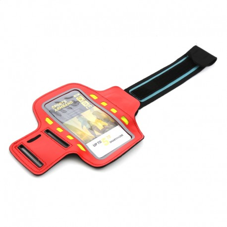 PLATINET SPORT ARMBAND FOR SMARTPHONE RED  WITH LED 43708
