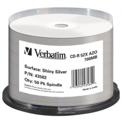 VERBATIM CD-R 700MB 52X AZO PRINTABLE THERMAL SHINY SILVER CAKE*50  43582 PRO